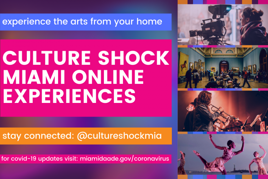 Brightly colored image with purple pink and yellow promoting Culture Shock Miami online experiences